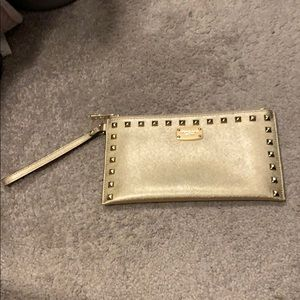 Michael Kors Gold / Leather/ Clutch Sandrine Stud
